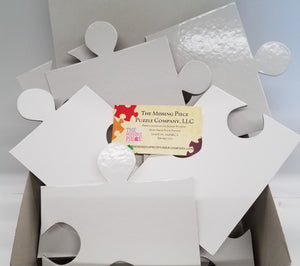 big white puzzle pieces for small wedding guest sign in