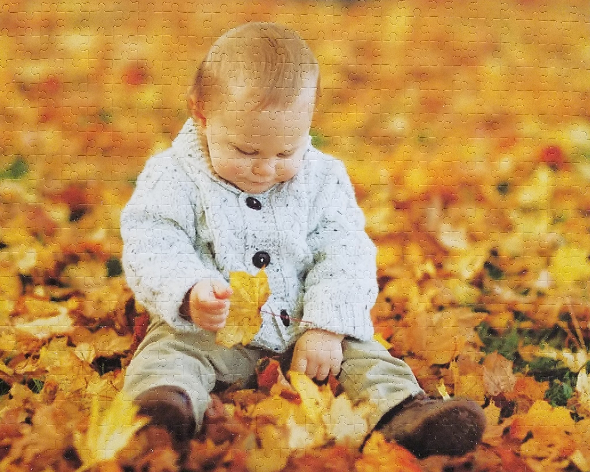 500 piece custom jigsaw puzzle of boy playing in yellow leaves - The Missing Piece Puzzle Company
