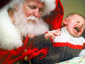 santa holding a screaming baby cut into a custom puzzle - The Misisng Piece Puzzle Company