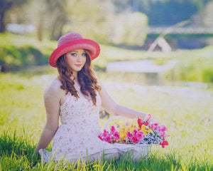 80 Piece Jigsaw Puzzle Gift for Teen of a girl holding a basket of flowers - The Missing Piece Puzzle Company