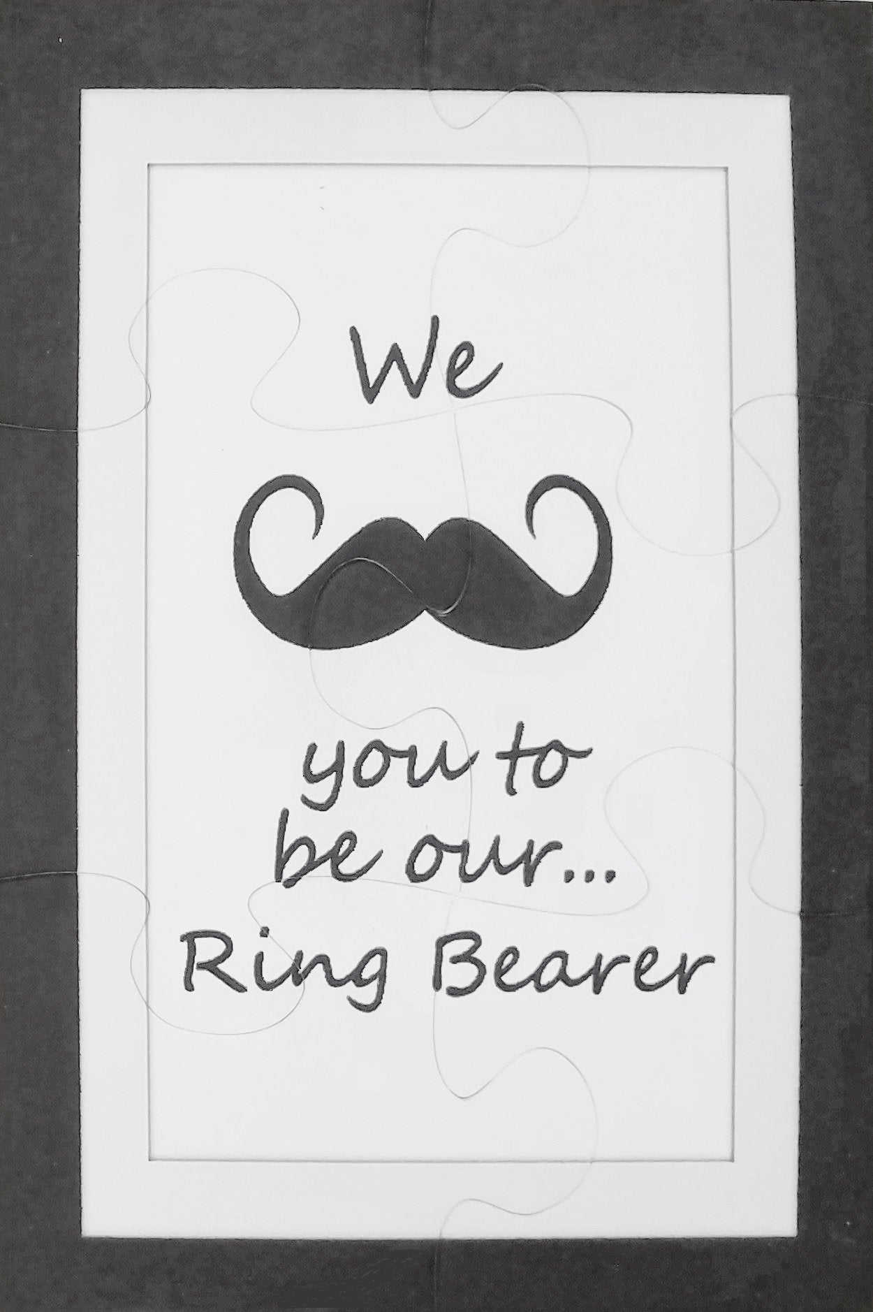 Unique Ring Bearer Proposal Puzzle with Mustache from The Missing Piece Puzzle Company