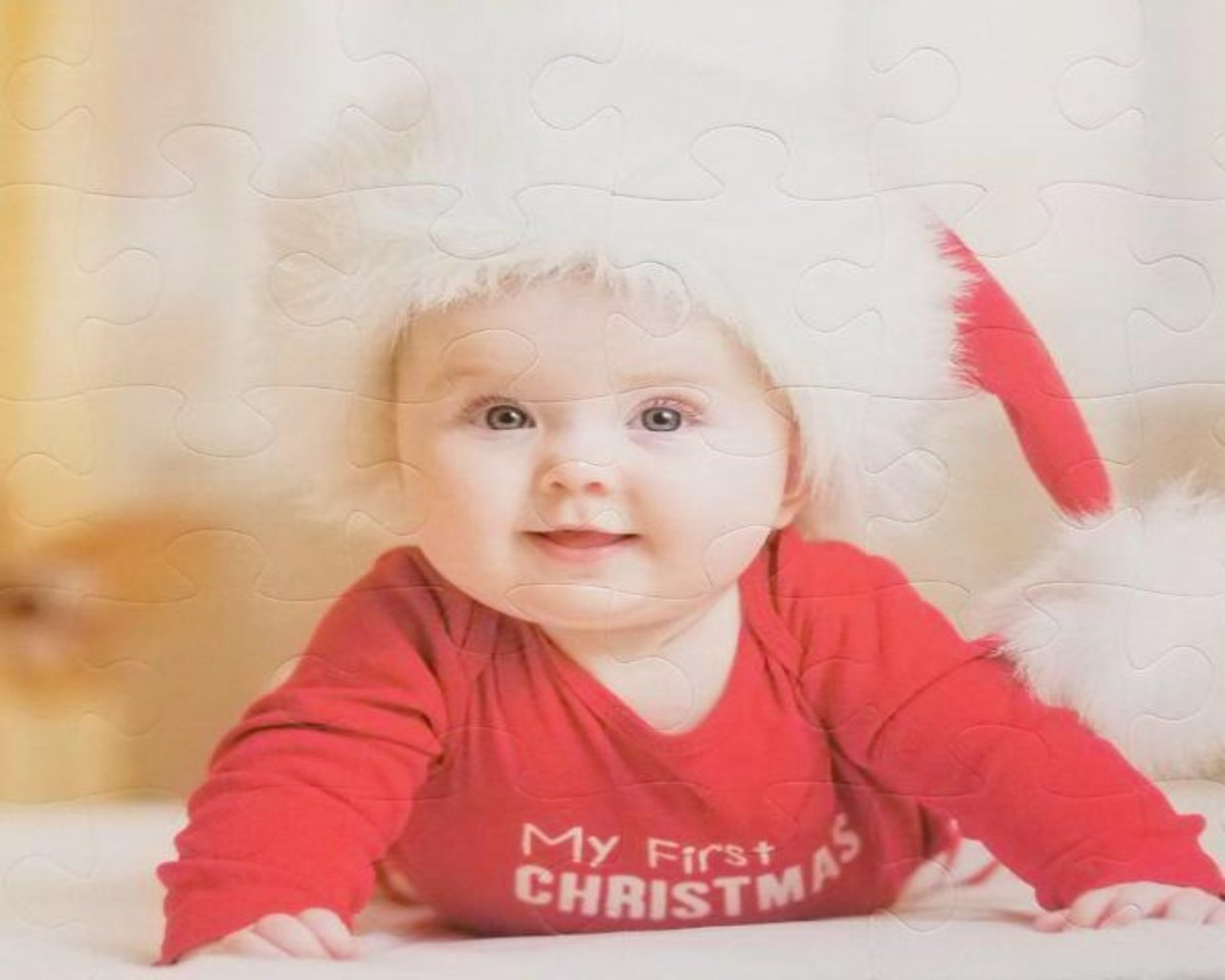 personalized photo jigsaw puzzle baby wearing santa hat - The Missing Piece Puzzle Company