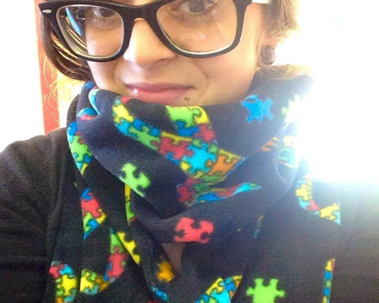 22904e27b Jigsaw Puzzle Pattern Scarf. Autism Awareness Scarf Accessory Black ...