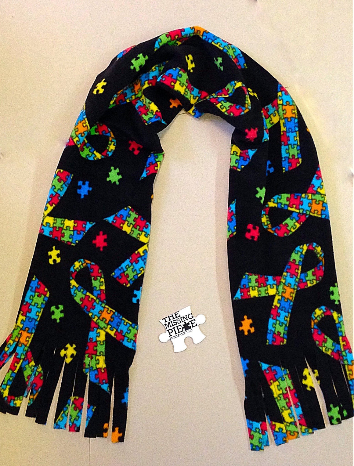 Black Autism Awareness Jigsaw Puzzle Ribbon Scarf