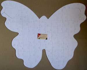 White Butterfly Shaped Puzzle - Butterfly Shaped Puzzle For Wedding Guest Books