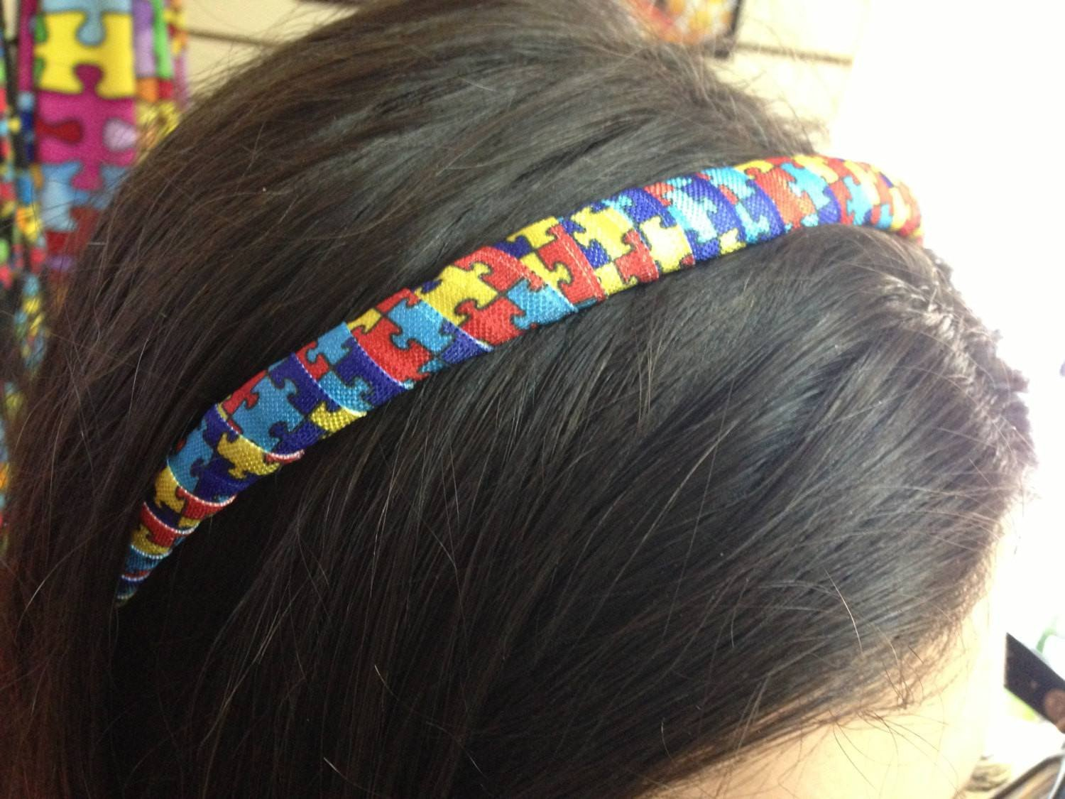 Colorful Autism Awareness Hairband Headband.  Puzzle Piece Headband.