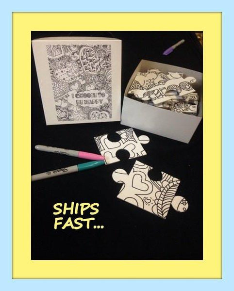 Coloring Book Puzzle With Inspirational Quote Paint Party Alternate Idea 8x10 Inches