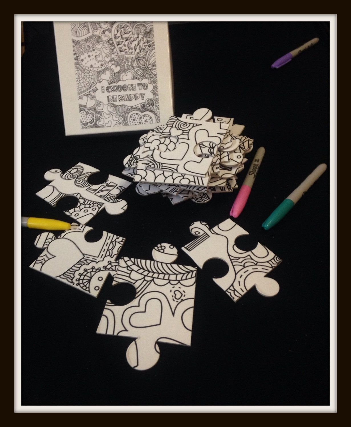 Custom Puzzle - Coloring Book Puzzle With Inspirational Quote. Paint Party Alternate Idea 8x10 Inches