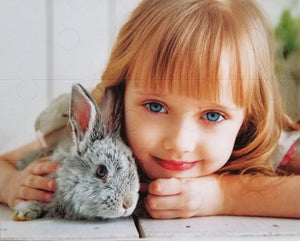 custom photo puzzle with 15 extra large pieces of girl with pet bunny - The Missing Piece Puzzle Company