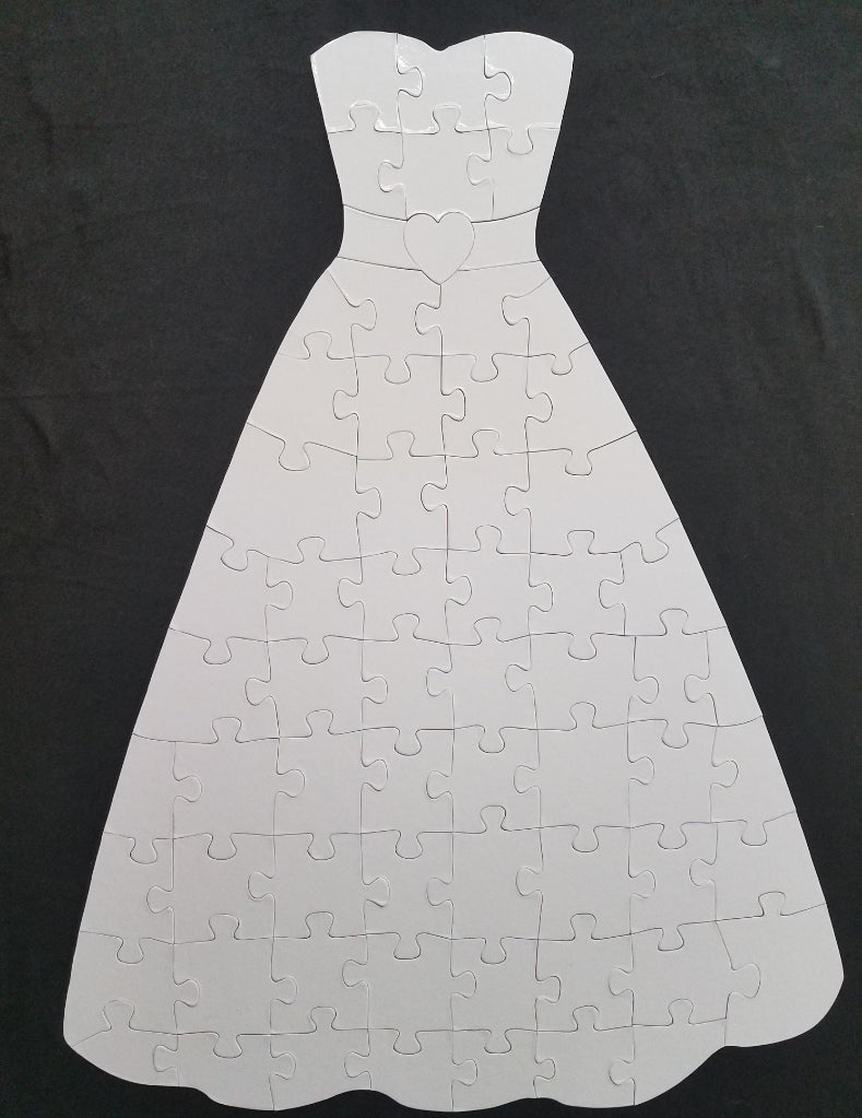 puzzle in the shape of wedding dress - The Missing Piece Puzzle Company