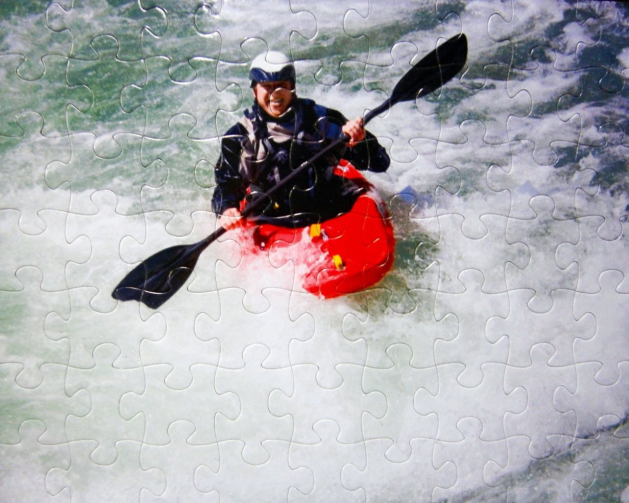 Extra Large Puzzle Pieces 16x20 Inch Puzzle With 63 Pieces of kayaker on whitewater rapids - The Missing Piece Puzzle Company