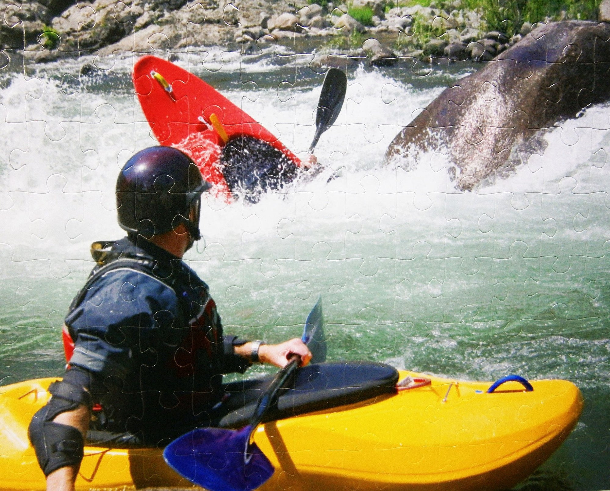 Gift for Dad.  Man in kayak extreme sport fanatic- Personalized Photo Puzzle  And Wedding Guest Book Puzzle 104 Extra Large Pieces