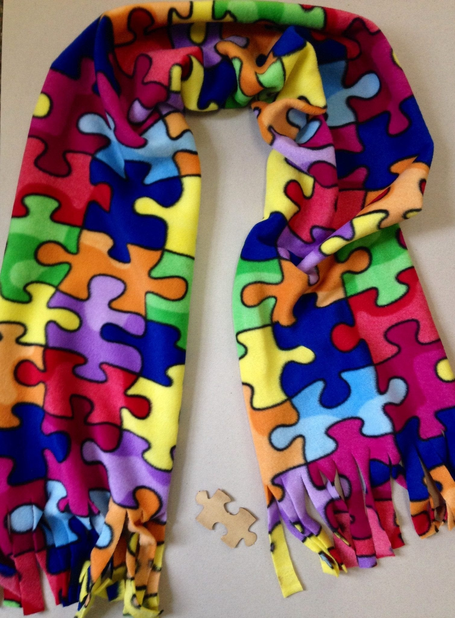 Handmade Jigsaw Puzzle Pattern Scarf Bright And Colorful SALE