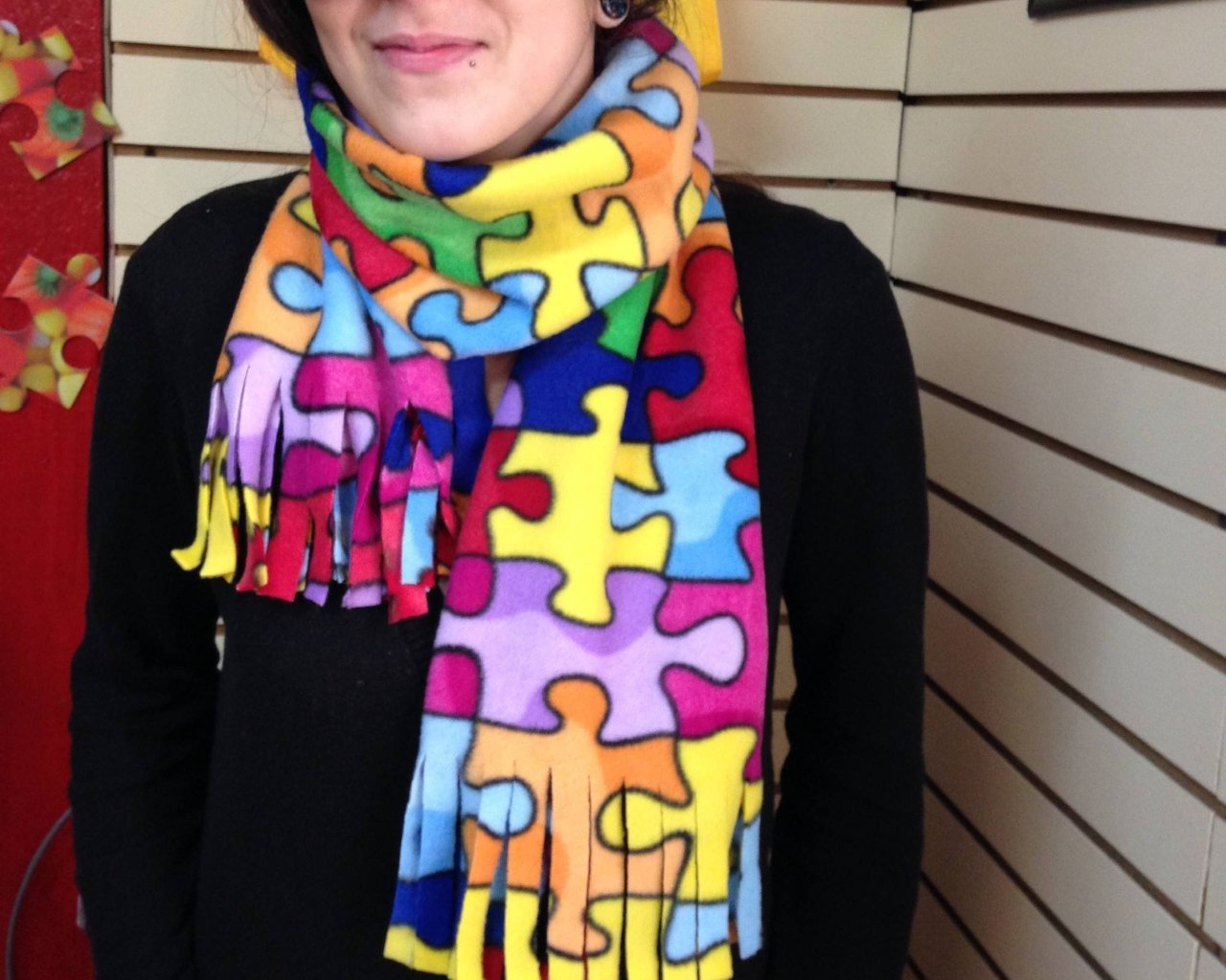 a1ebe1912 Jigsaw Puzzle Pattern Scarf. Autism Awareness Colorful Scarf ...