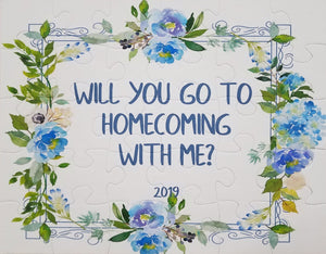 homecoming puzzle.  ask someone to homecoming with a puzzle.  blue flowers and proposal words.