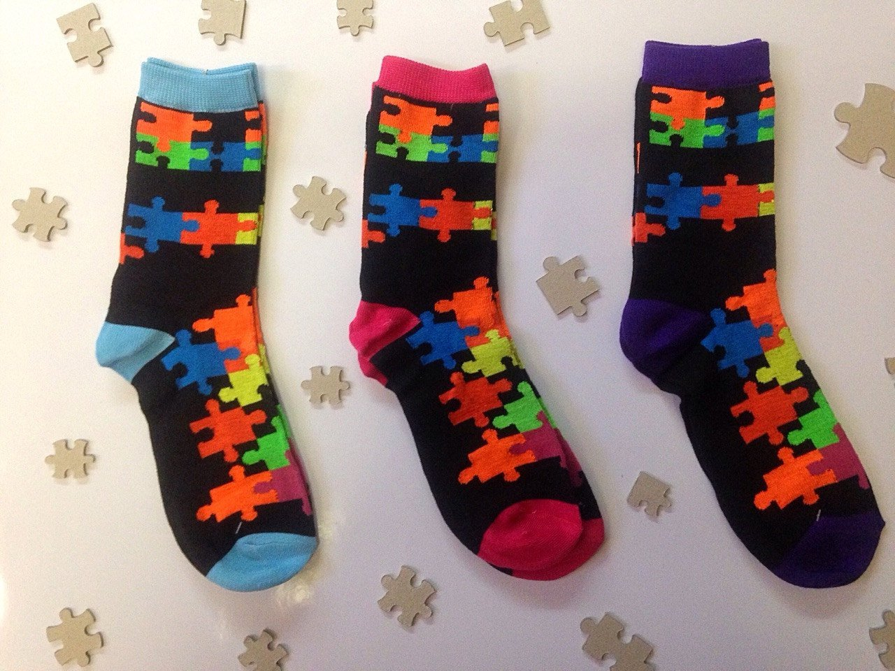Jigsaw Puzzle Design Socks.  SALE
