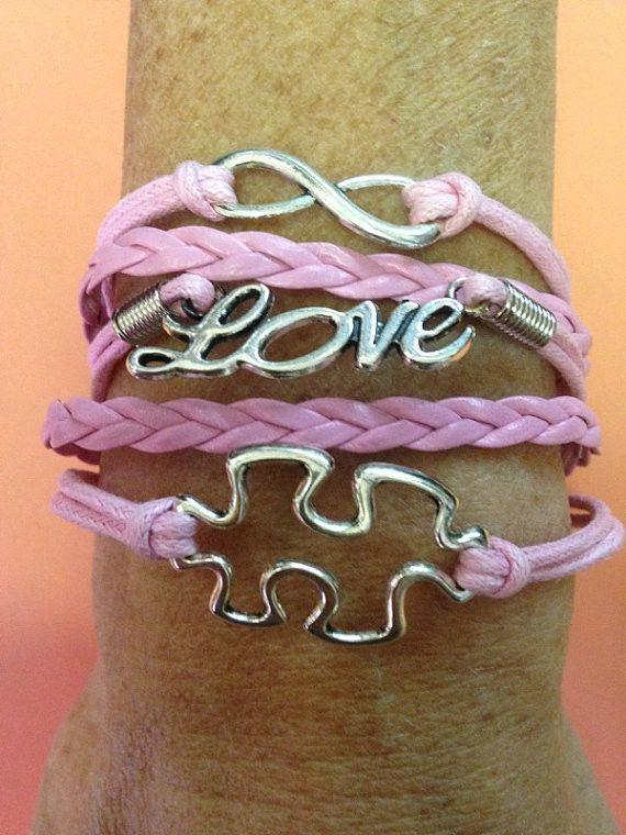 Jigsaw Puzzle, Infinity And Love Bracelet Fits Size S-XL Wrists