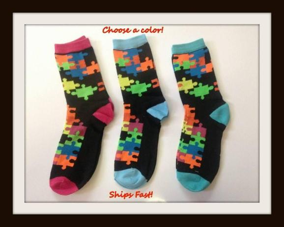 Jigsaw Puzzle Socks Size 9-11.  Puzzle Pattern Socks.  Autism Awareness