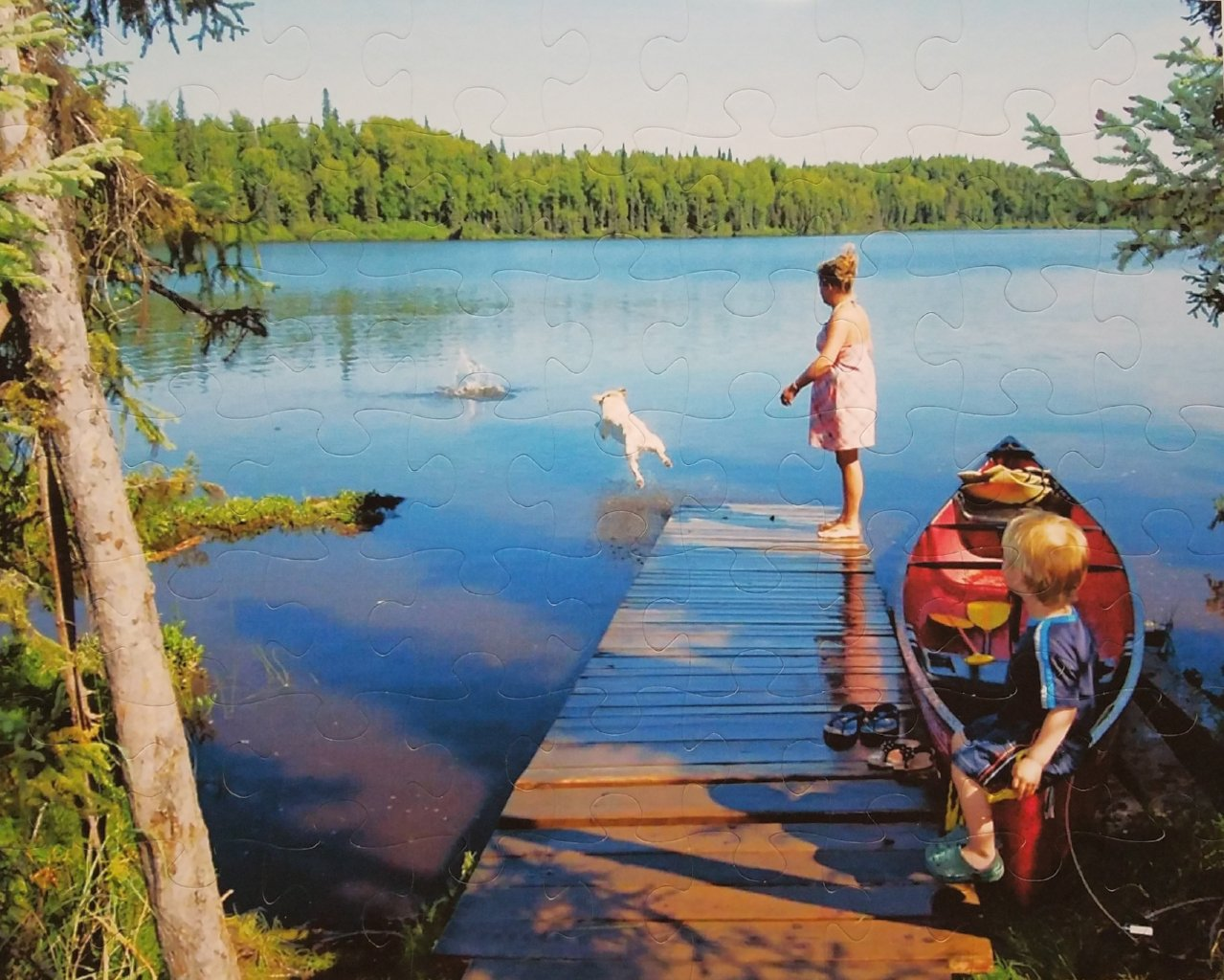extra large custom puzzle of family with dog on dock - The Missing Piece Puzzle Company