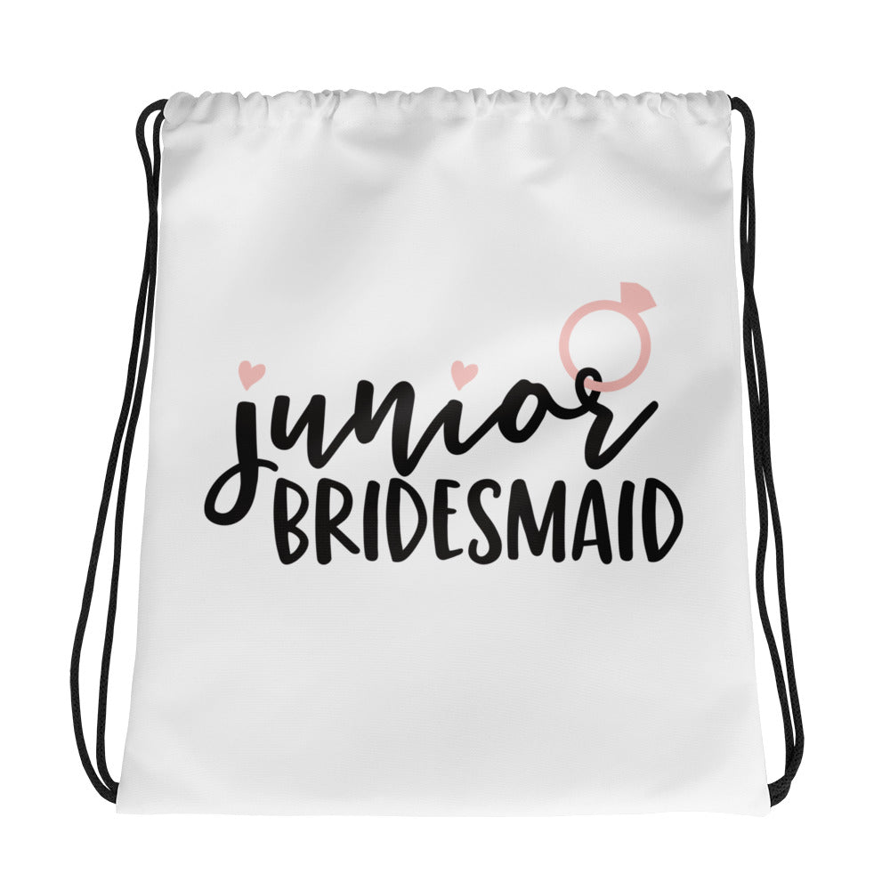 Junior Bridesmaid gift bag cheap. White bag with Junior Bridesmaid in cute black font.
