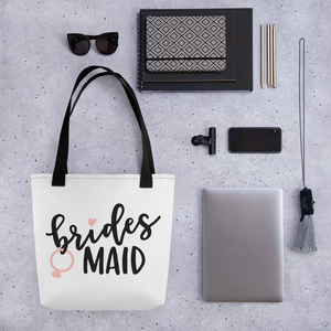 Ask your bridesmaid with a white tote  Bridesmaid bag in white with black  fun font.