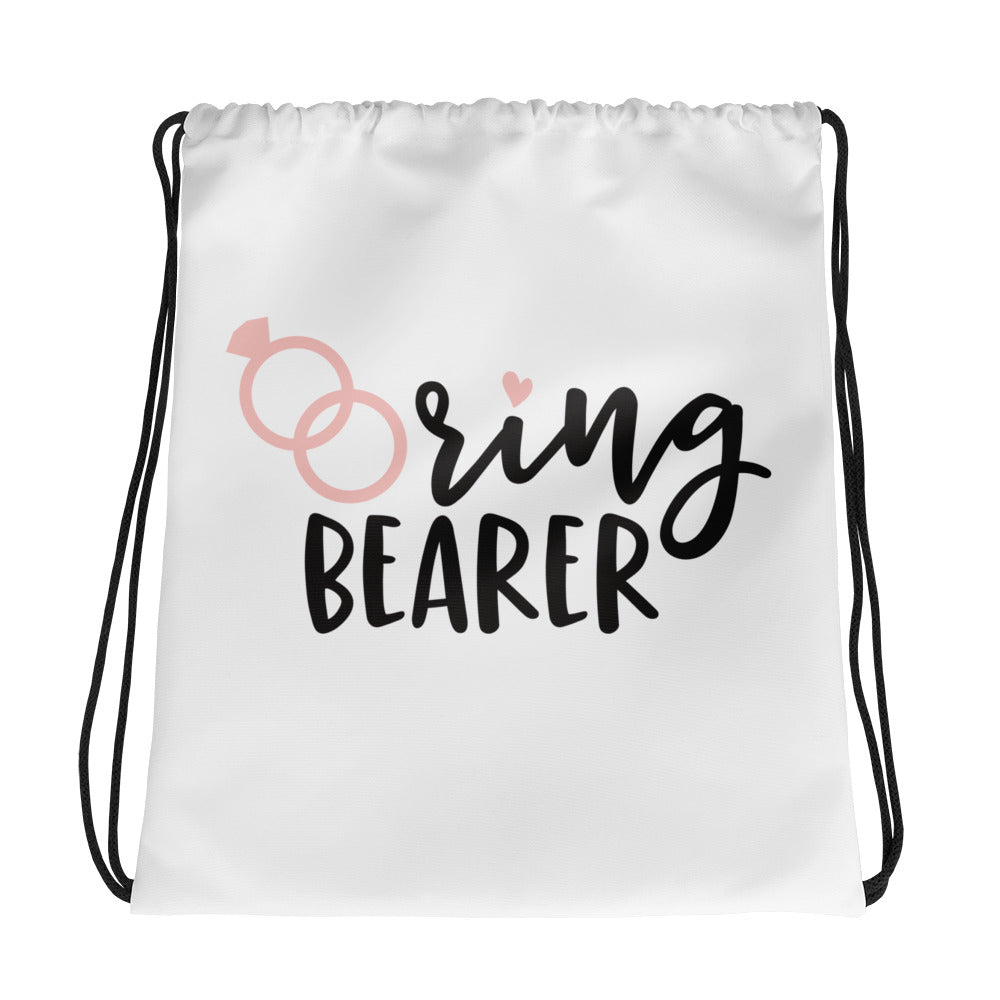 white tote bag for the Ring Bearer at a Wedding.  Black font Ring Bearer.