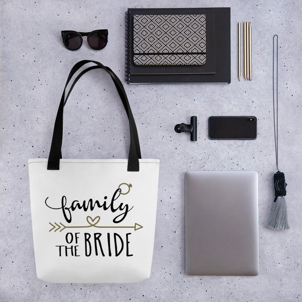 "White tote bag ""Family of the Bride"" in gold and black.  Black handle on white Wedding bag."