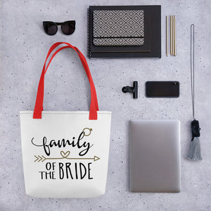 "Wedding bag, white with red handle.  Text is ""Family of the Bride"" with cute gold arrow and heart."