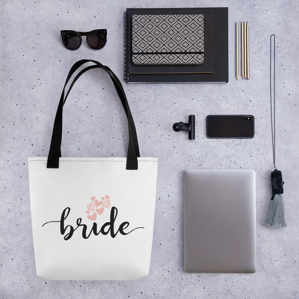 Wedding bag featuring the word BRIDE in a fun black font and pink hearts.  Large tote bag for bride.