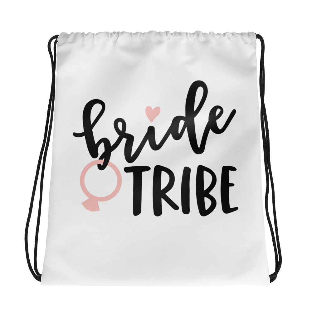 White Draw string bag for Wedding Bride Tribe.