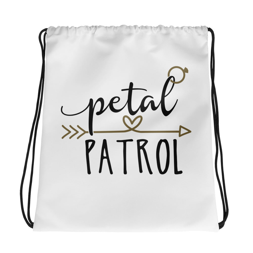 Ask your Flower Girls with white bag with black fun font Petal Patrol.  Weddig Bag with drawstring.
