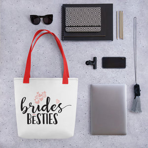 White Draw string bag for Wedding Bride best friend.  Red handle