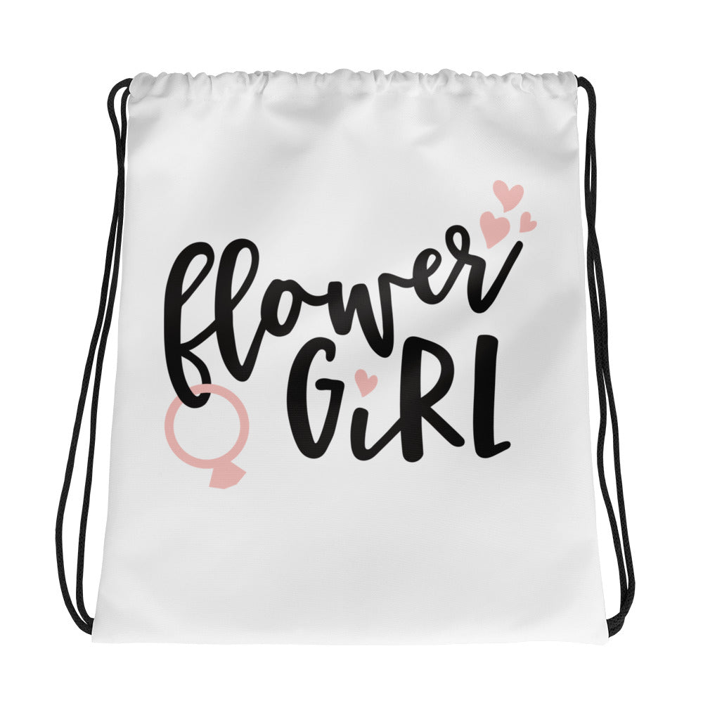 White Wedding Bag gift to the Flower Girl.  Black writing Flower Girl.