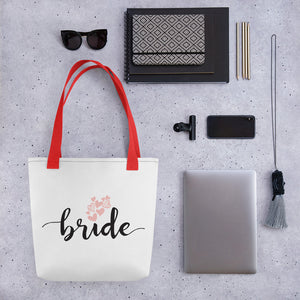 Large white tote bag for BRIDE with a trendy red handle.