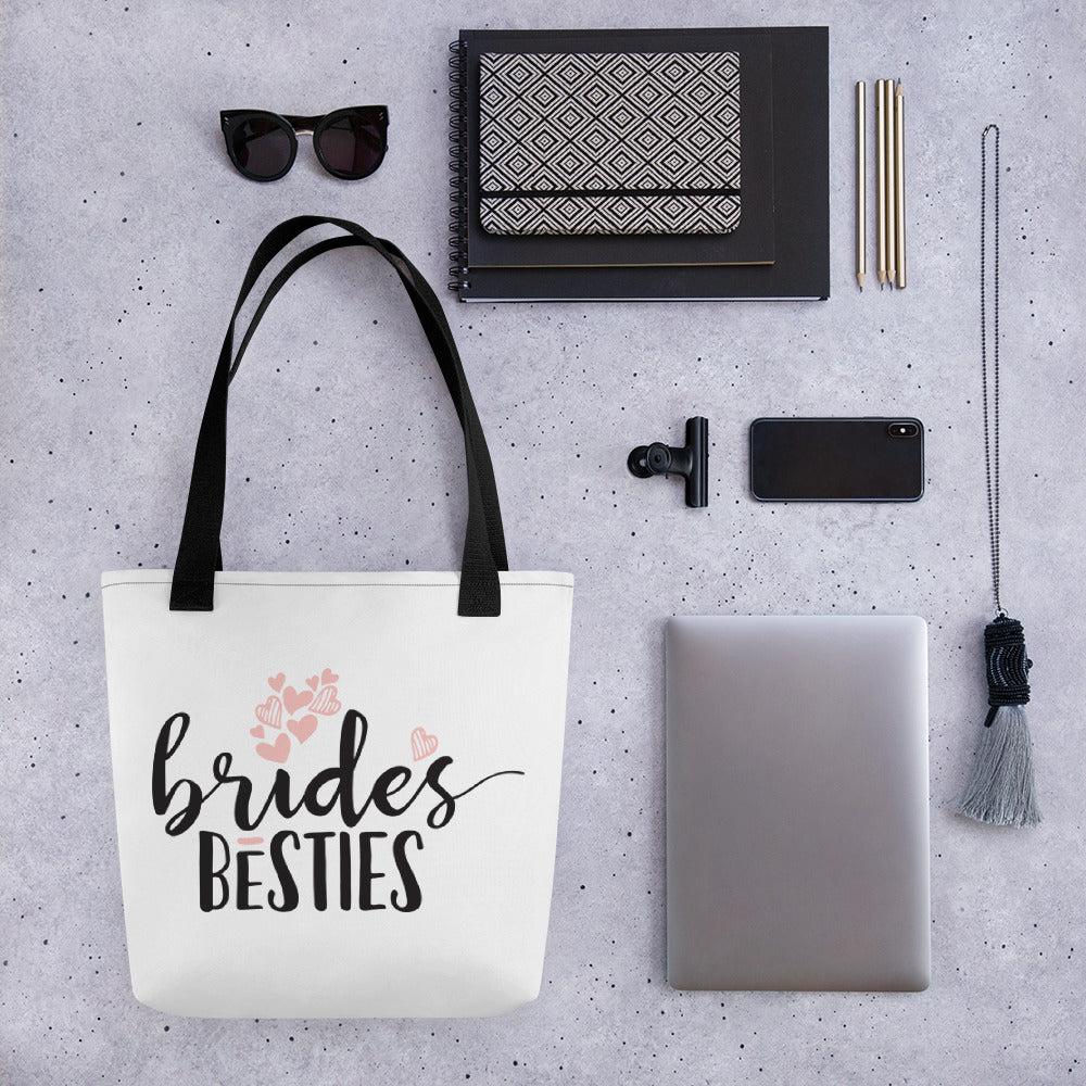 White Draw string bag for Wedding BridesBesties.  Wedding gift for your best friend