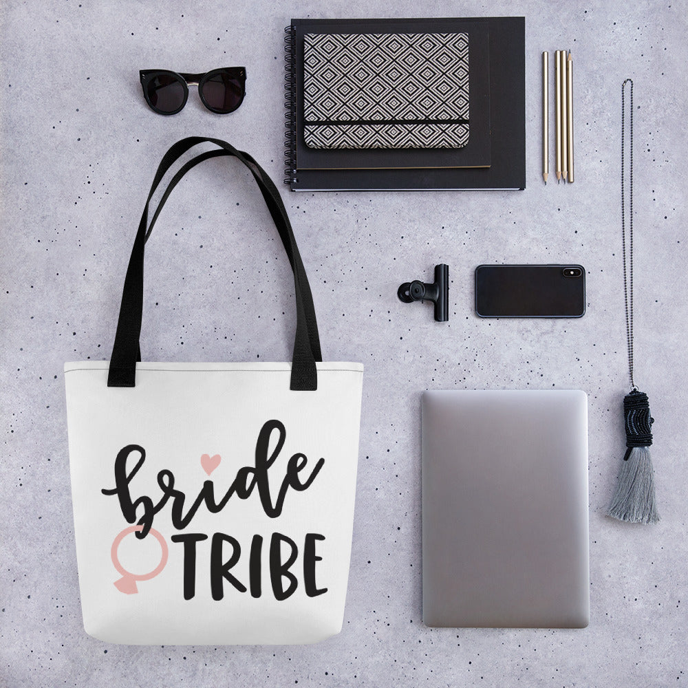 White Draw string bag for Wedding Bride Tribe. Bridal party gift bag affordable.