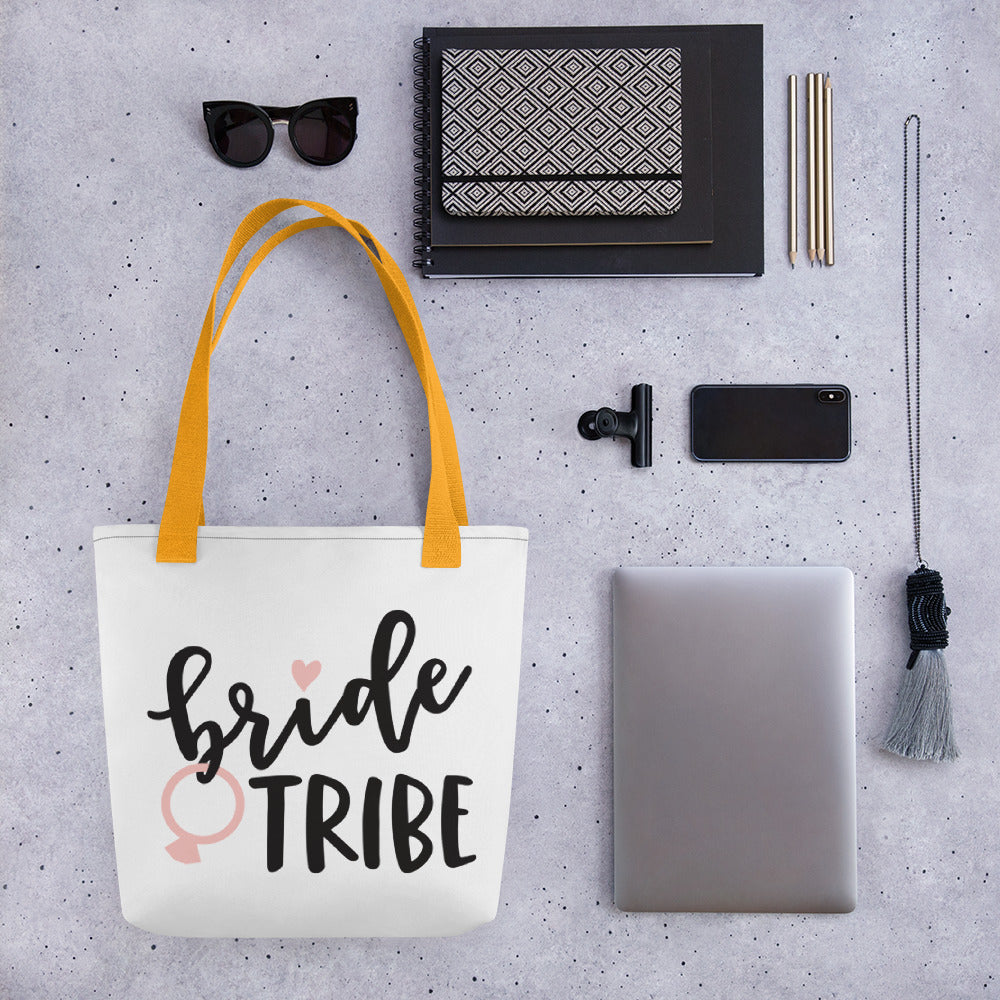 White Draw string bag for Wedding Bride Tribe.  Ask your girls with white bride tribe bag with yellow handle.