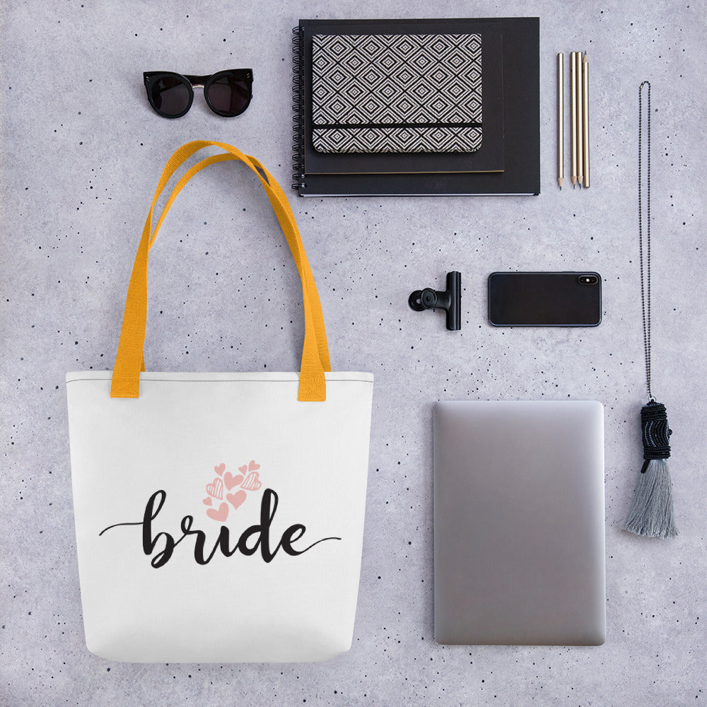 Large white tote bag for BRIDE with a trendy yellow handle.