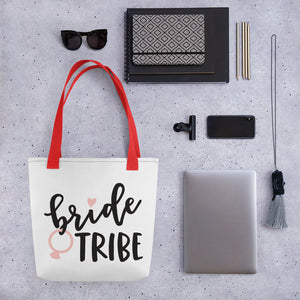 White Draw string bag for Wedding Bride Tribe.  Red handle and black font.