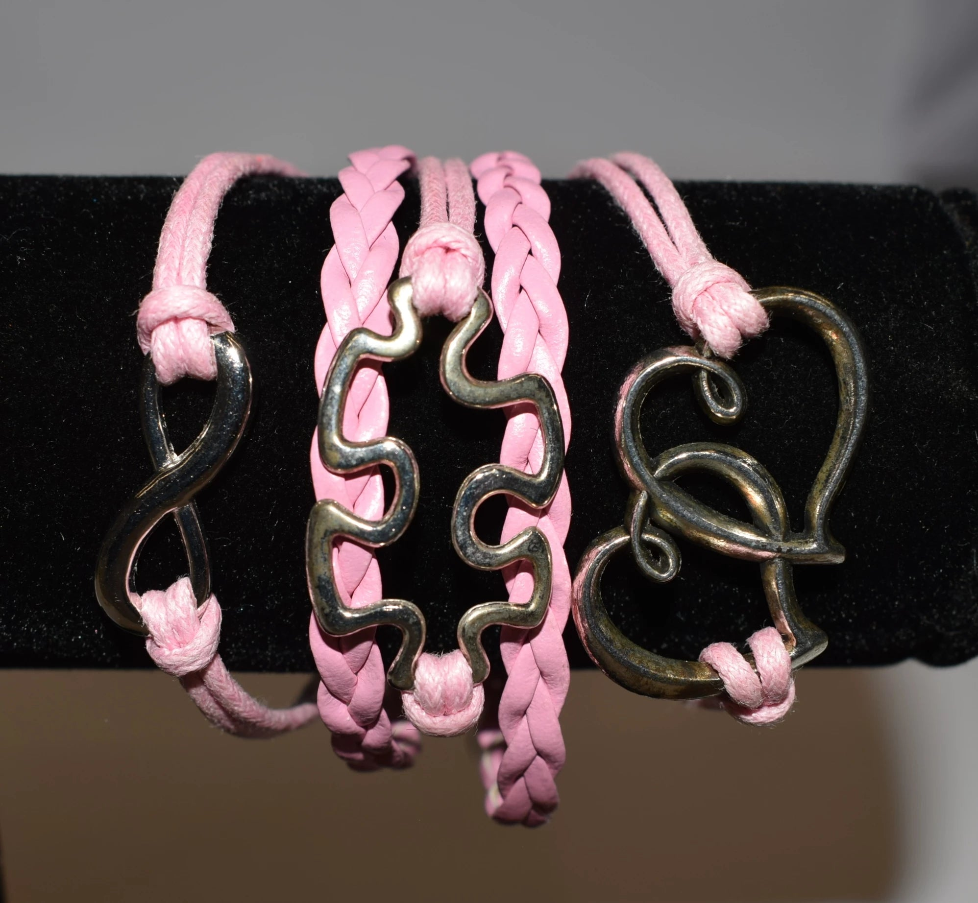 Pink Puzzle Piece Bracelet.  Several designs to choose from. Friendship bracelet.
