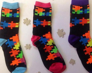 Set Of 3 Puzzle Socks - Mixed Colors.  Save Big!