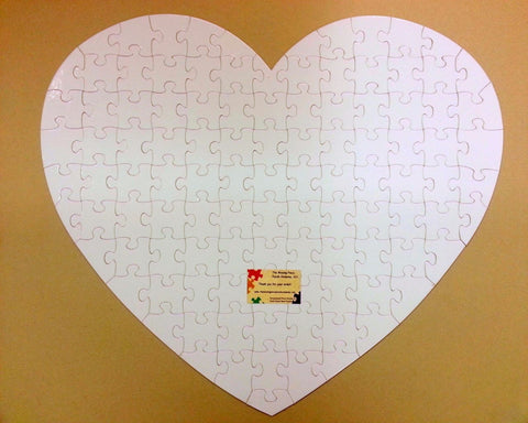 Very Large Heart Shaped Guest Book Puzzle With 76 XL White Puzzle Pieces
