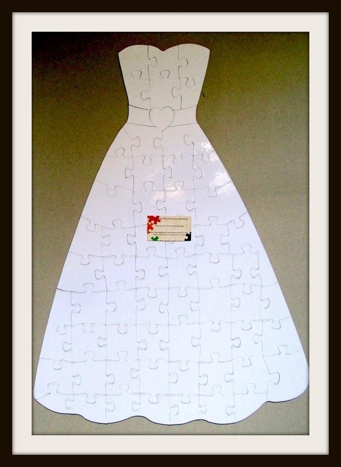 White and Blank Wedding Guest Book - The Missing Piece Puzzle Company