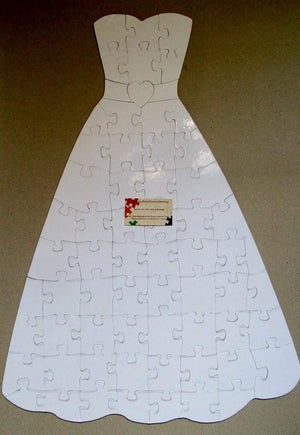 Wedding Dress Puzzle For Unique Alternative Wedding Guest Book Idea