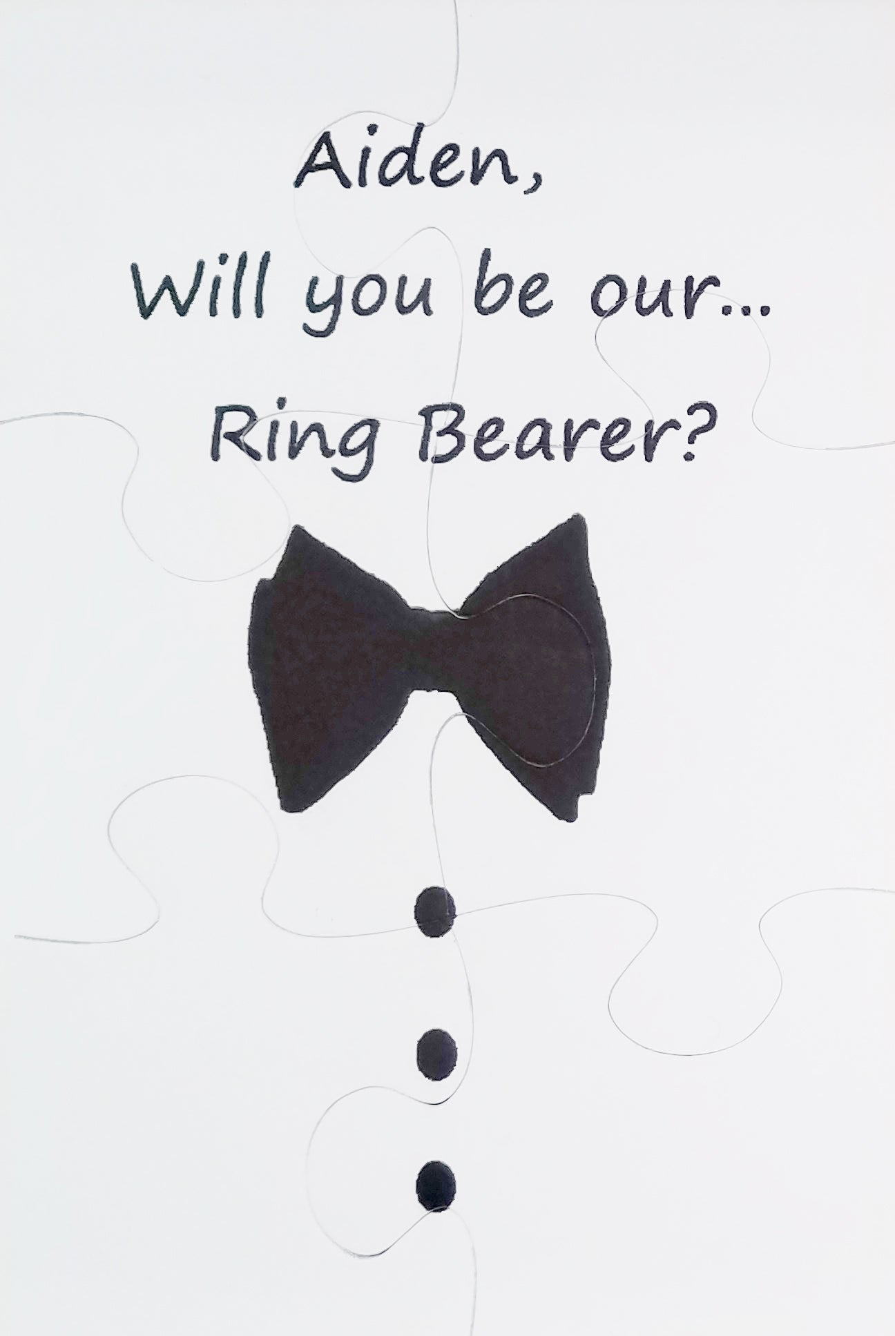 Ask your Ring Bearer Bowtie Puzzle.  The Missing Piece  Puzzle Company