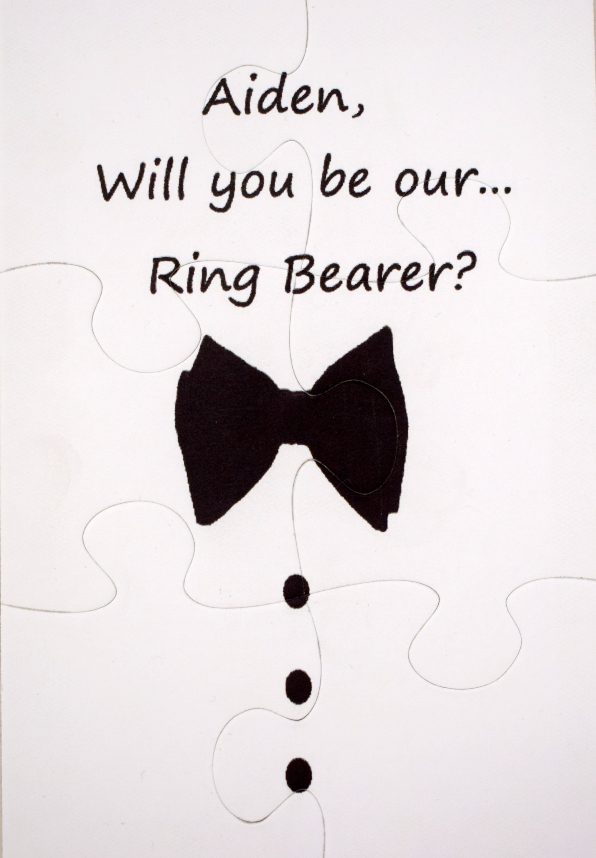 Ring Bearer Invitation Keepsake jigsaw puzzle.  Asky your ring bearer to be in wedding - The Missing Piece Puzzle Company