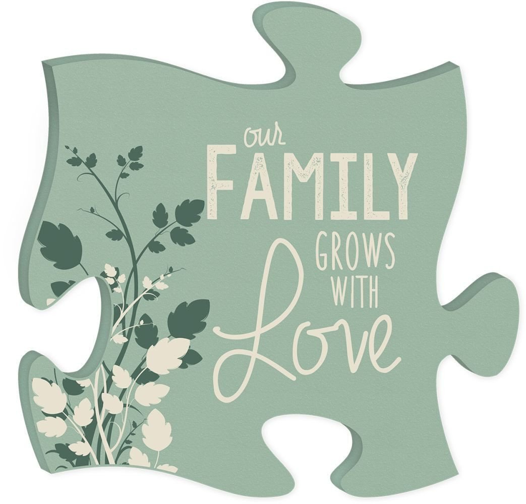 Wood Puzzle Wall Decor - Our Family Grows With Love
