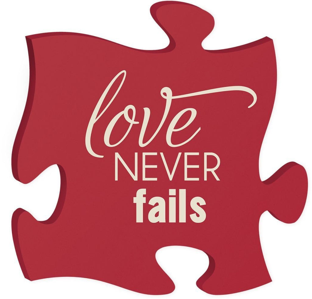 Wooden Puzzle Piece - Love Never Fails - Red