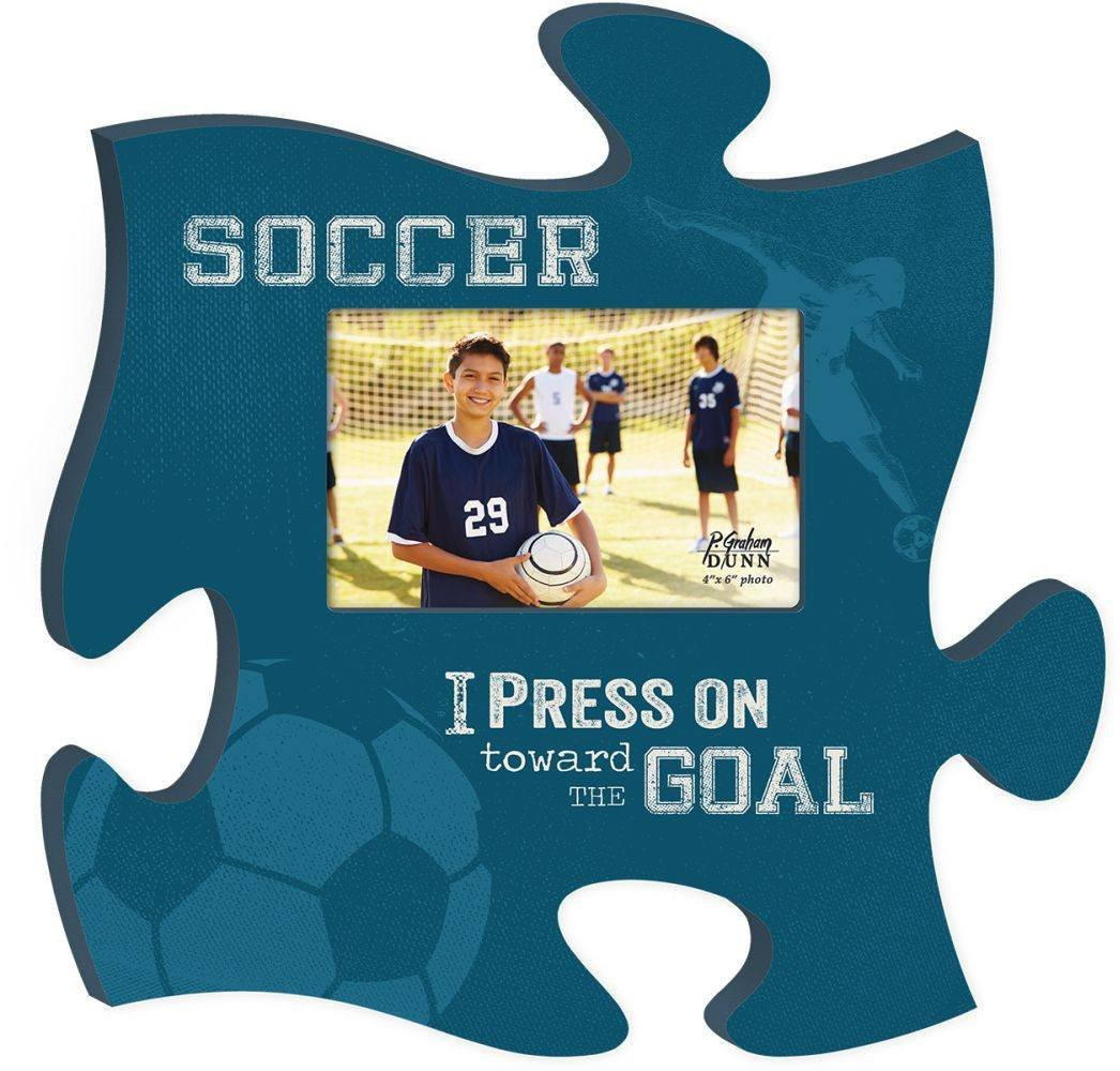 Wooden Puzzle Piece Wall Hanging - Soccer