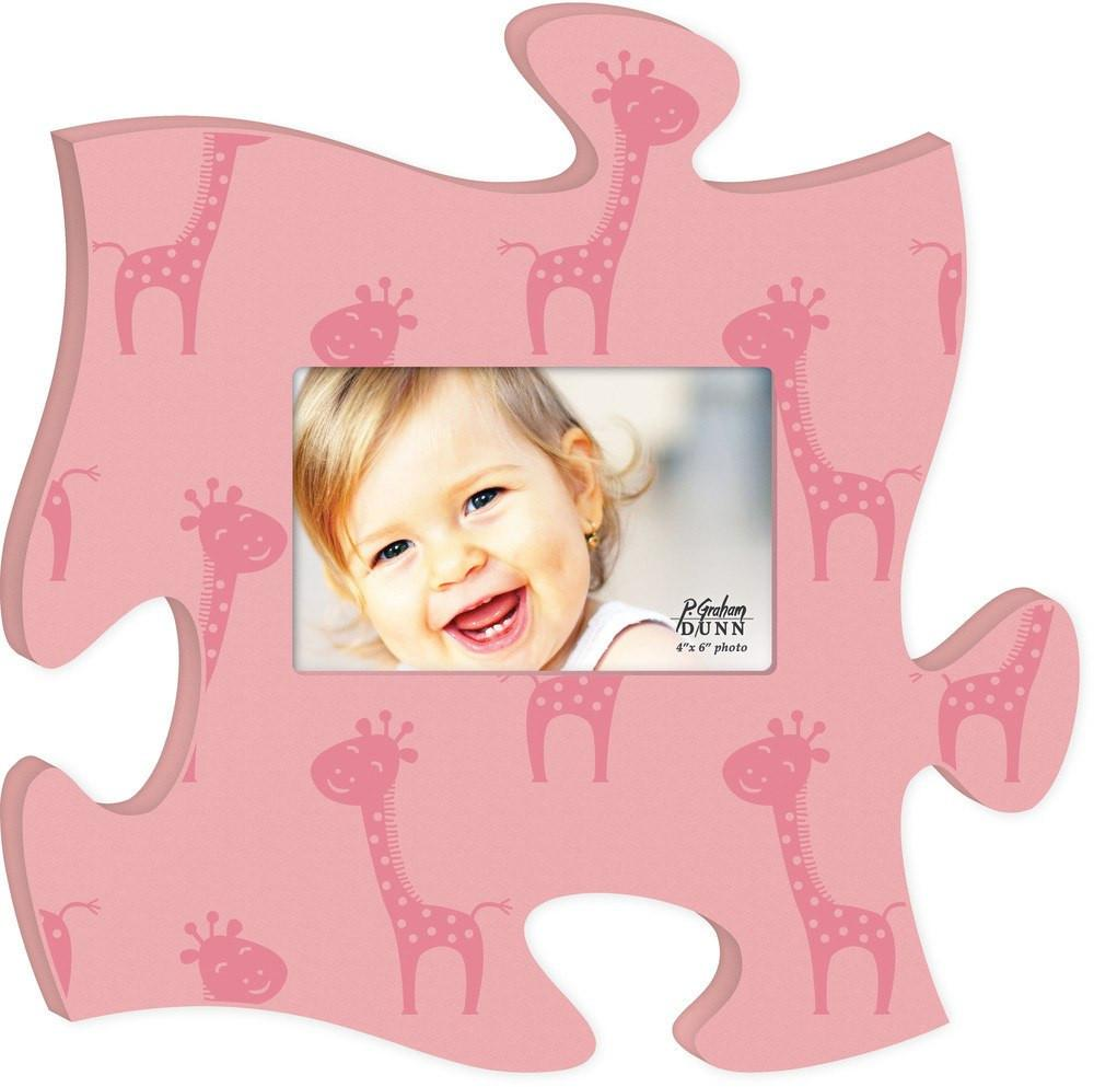 Wooden Puzzle Wall Decor Frame For Child.  Pink And Adorable Giraffe's.  Baby Room Decor